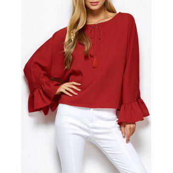 Dolman Sleeve Ruffles Loose Blouse - RED L