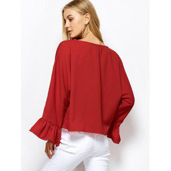 Dolman Sleeve Ruffles Loose Blouse - RED RED