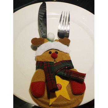 Christmas Deer Shape Knives Forks Cover Bag Table Decoration - YELLOW YELLOW