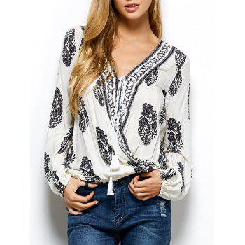 Retro Print Wrap V Neck Blouse - WHITE WHITE