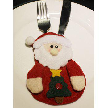 Christmas Santa Claus Knives Forks Cover Bag Table Decoration - RED RED
