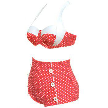 Heart Print Vintage High Waisted Bikini - RED M