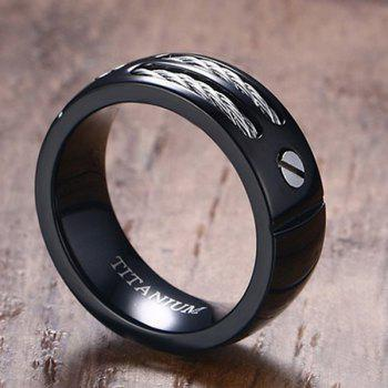 Cable Inlay Letter Titanium Ring - BLACK 8