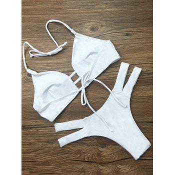 Strappy High Cut Bikini Swimwear - WHITE S
