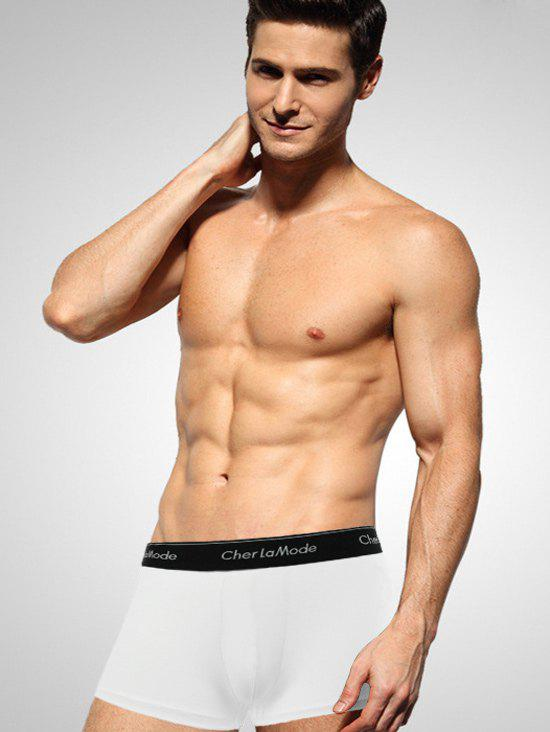 Cherlamode U Pouch Design Solid Color Men's Boxer Brief - WHITE XL