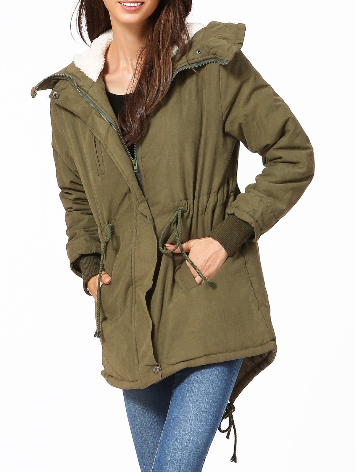 Hooded High Low ParkaWomen<br><br><br>Size: XS<br>Color: ARMY GREEN