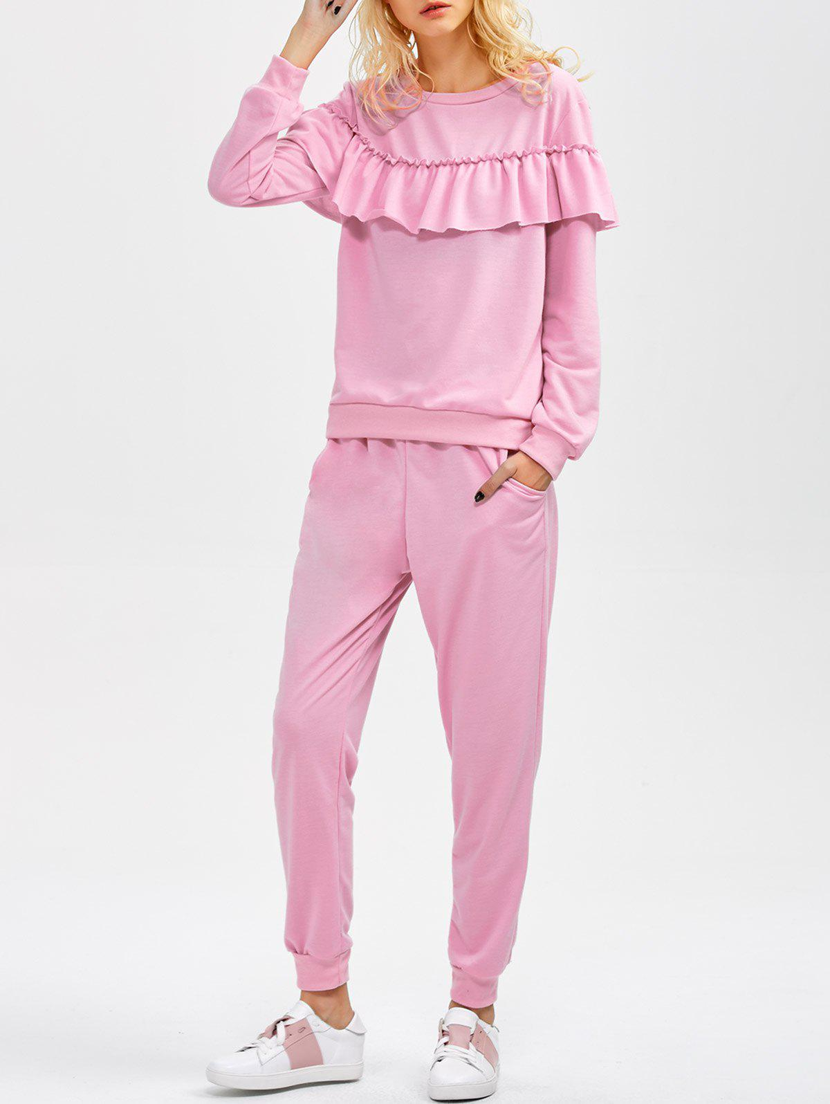 Flounced Sweatshirt and Jogger Pants - PINK L