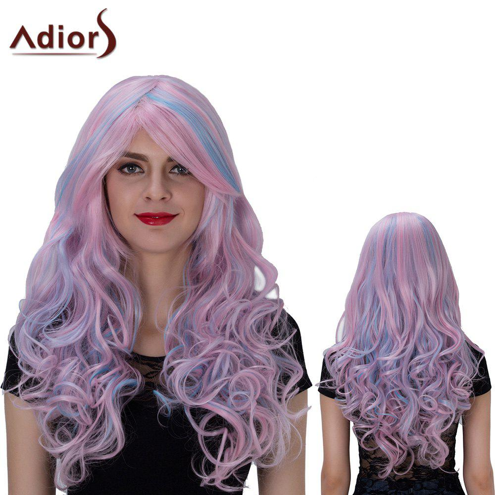 Adiors Long Side Bang Colormix Layered Wavy Film Character Synthetic WigHair<br><br><br>Color: PINKISH BLUE