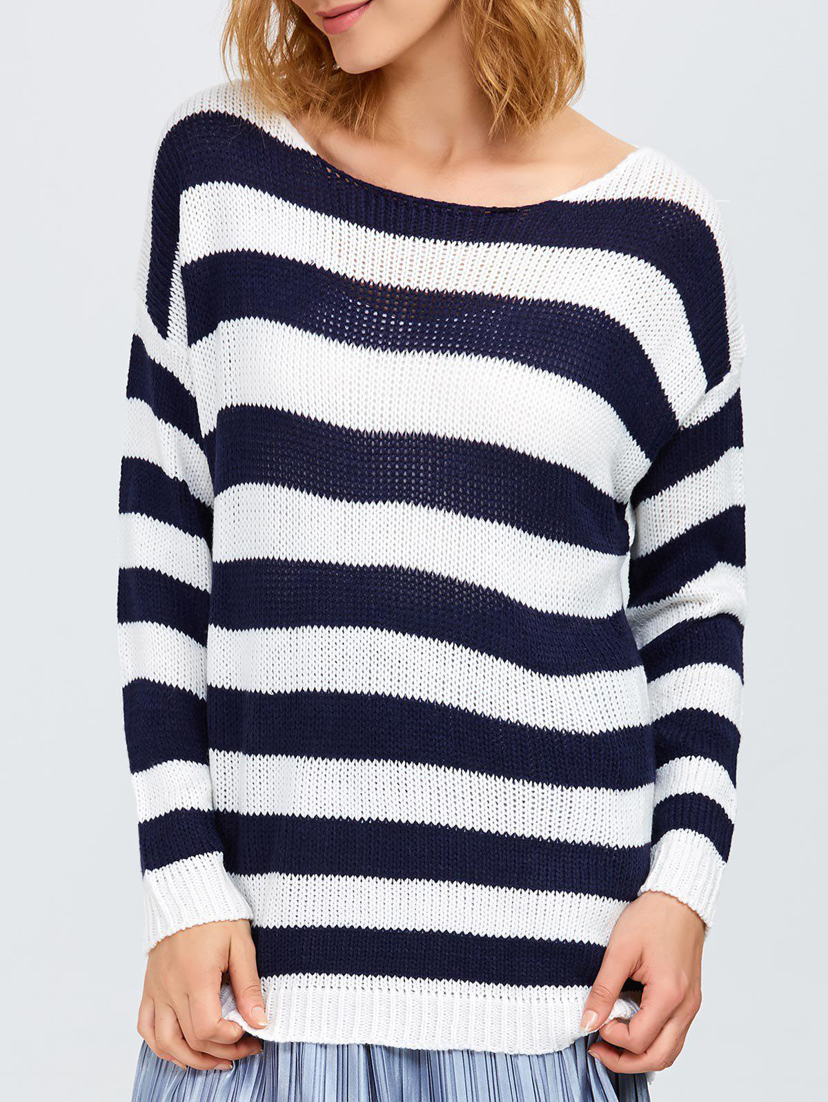 Round Neck Striped Tunic Sweater round neck striped ripped sweater