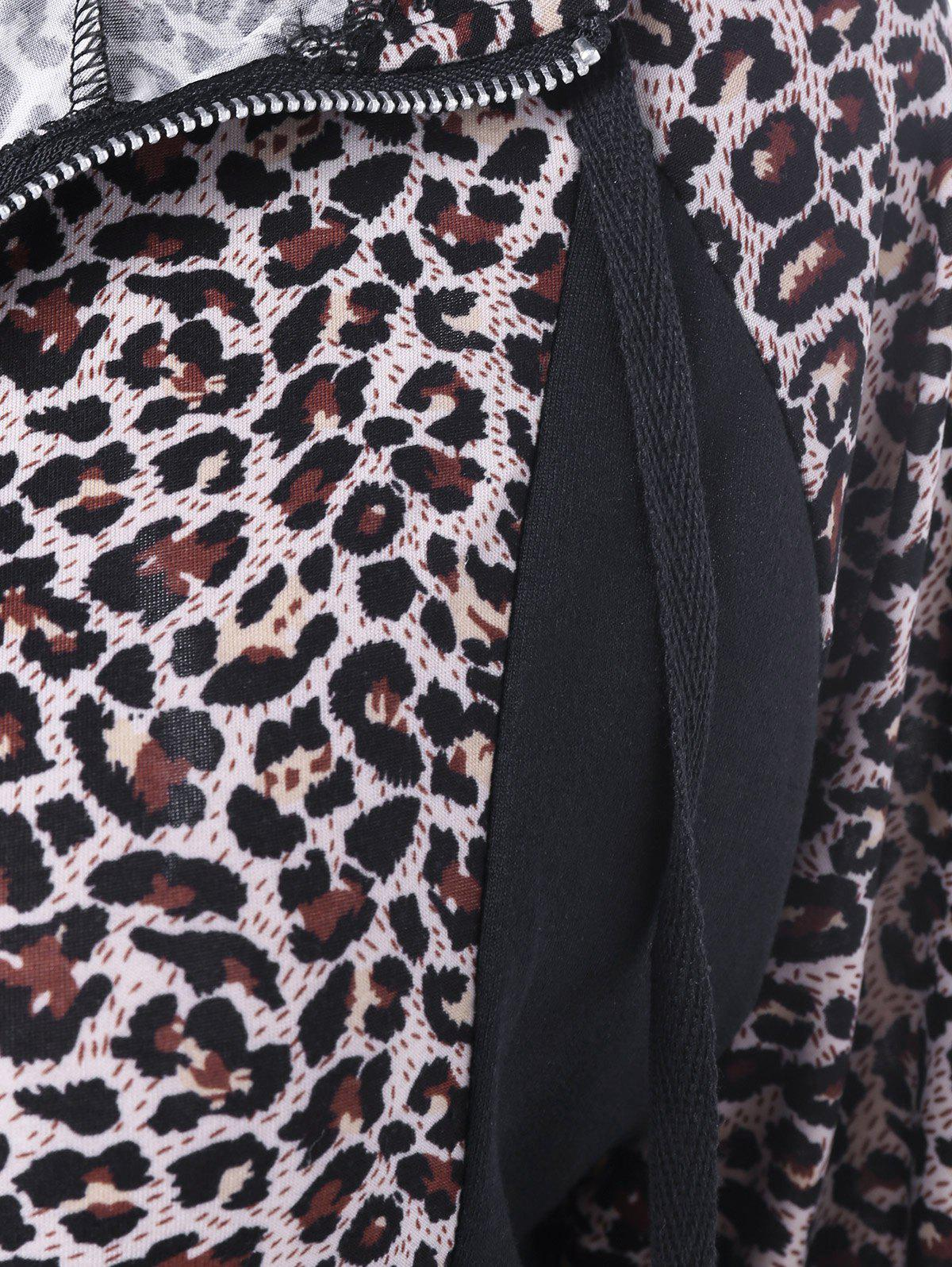 Athletic Pants With Leopard Zipper Hoodie - BLACK XL