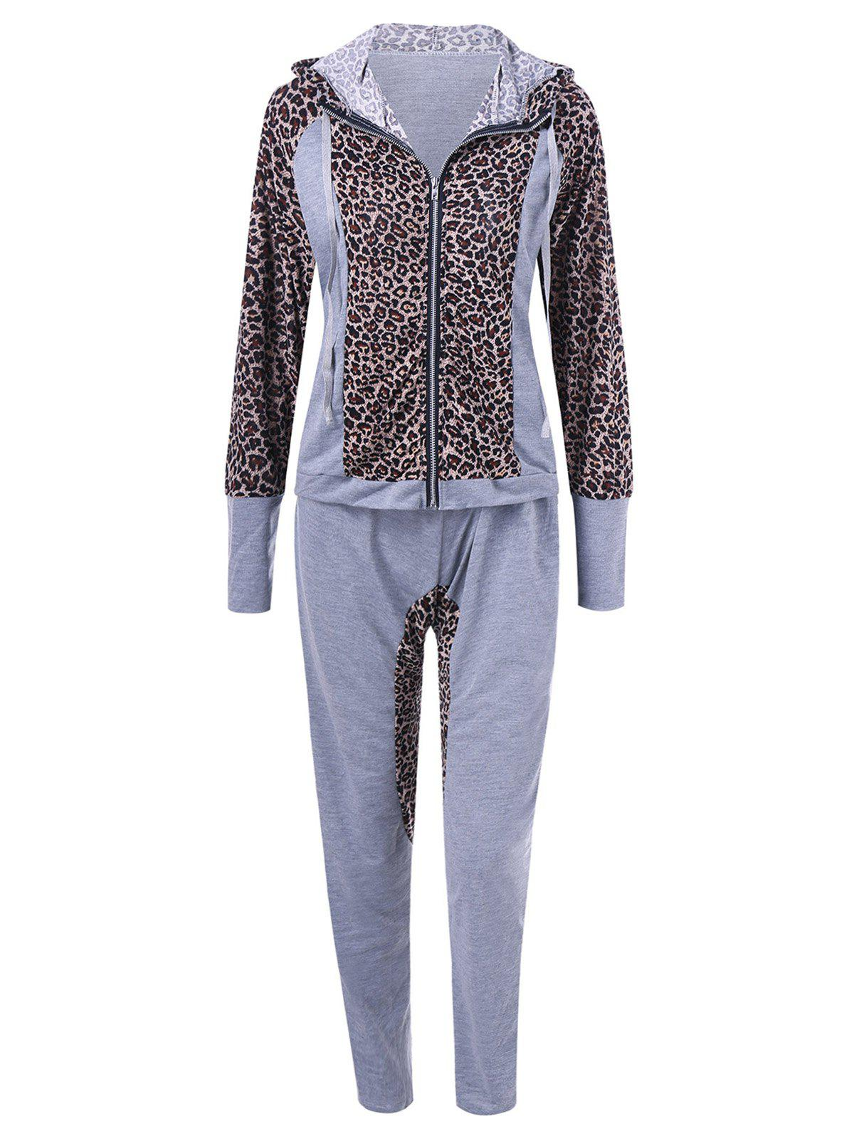 Athletic Pants With Leopard Zipper Hoodie - GRAY M