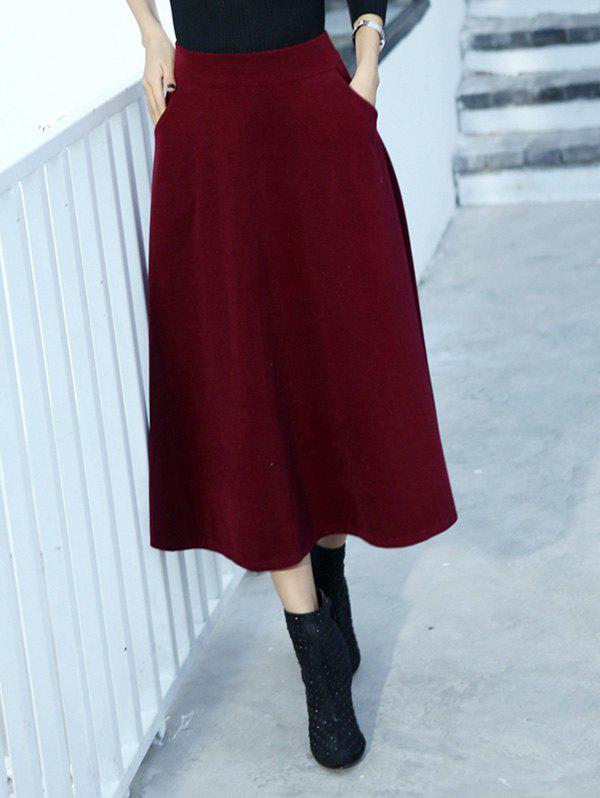 Wool Blend Midi A Line Skirt With Pocket blend a
