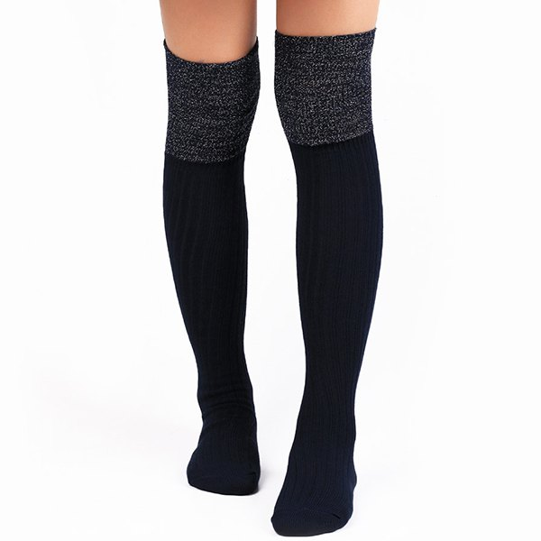 Ribbed Knit Stockings - CADETBLUE