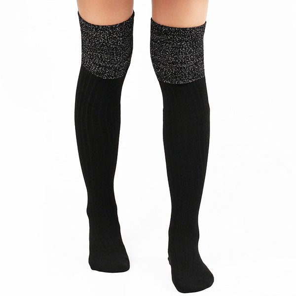 Ribbed Knit Stockings - BLACK