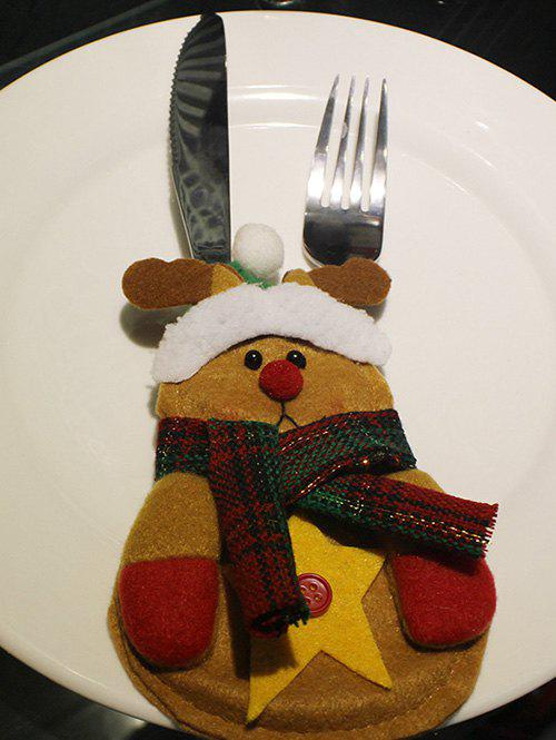 Christmas Deer Shape Knives Forks Cover Bag Table Decoration - YELLOW