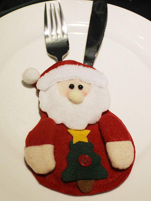 Noël Santa Claus Couteaux Forks Cover Bag Table Décoration - Rouge