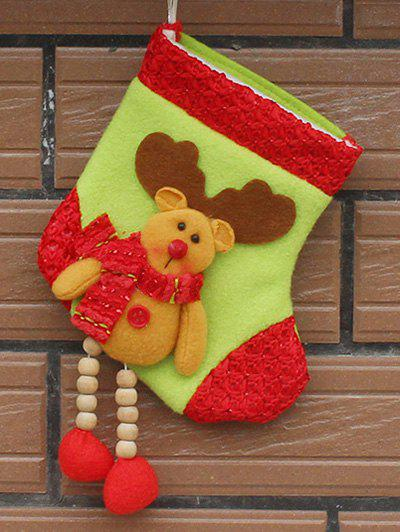 Christmas Decor Deer Pattern Hanging Stocking Present Bag - YELLOW