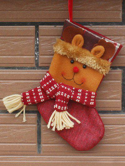 Deer Patern Stocking Present Sock Christmas Tree Decor - YELLOW