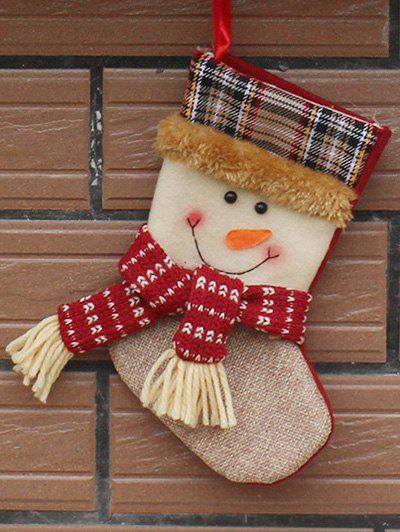 Christmas Decor Snowman Hanging Stocking Present Sock - WHITE