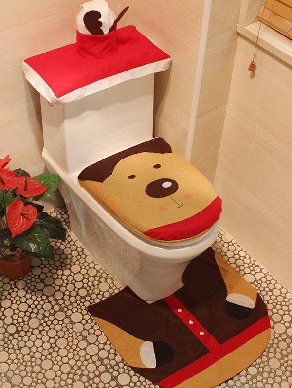 Christmas Decoration Deer Pattern 3PCS Toilet Seat Cushion Cover Set - COLORMIX
