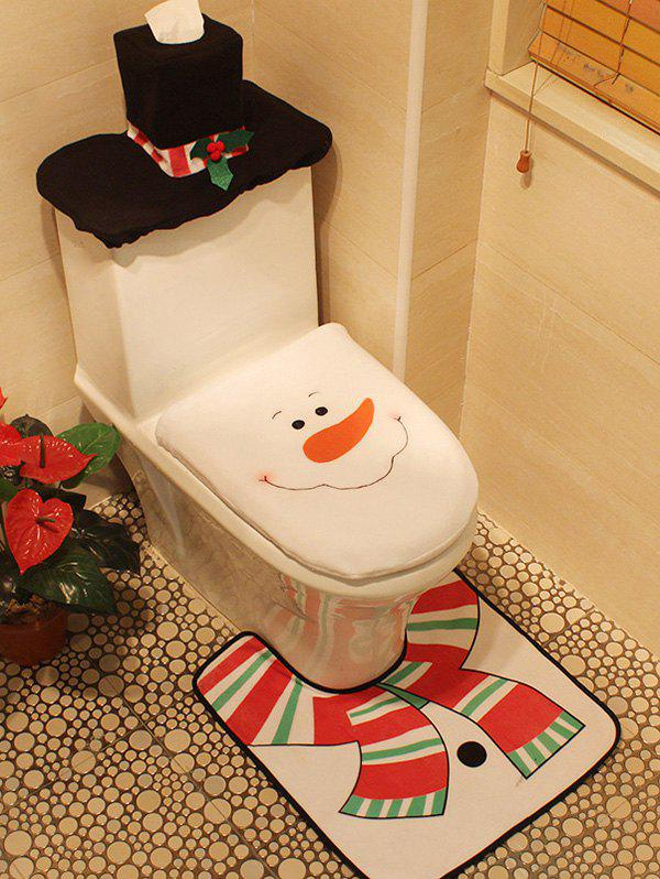 Christmas Decoration Snowman Pattern 3PCS Toilet Seat Cushion Cover Set - WHITE