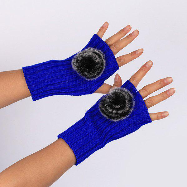 Winter Crochet Pom Ball Fingerless Gloves - ROYAL