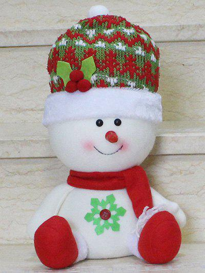 Christmas Sitting Snowman Doll Party Decoration - RED/WHITE