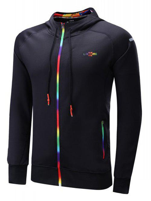 Hooded Raglan Sleeve Colorful Zipper Design Drawstring Hoodie - BLACK 2XL