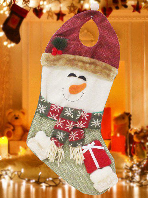 Christmas Snowman Hanging Present Stocking Bag Decoration - RED/GREEN