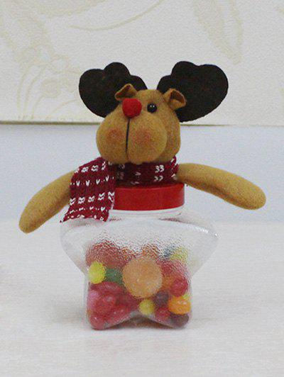 Christmas Cute Plush Elk Toy Star Shape Candy Jar - TRANSPARENT