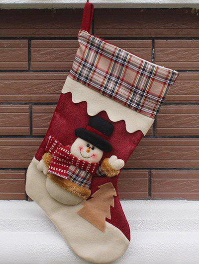Christmas Tree Decor Snowman Pattern Children Gift Sock - COLORMIX