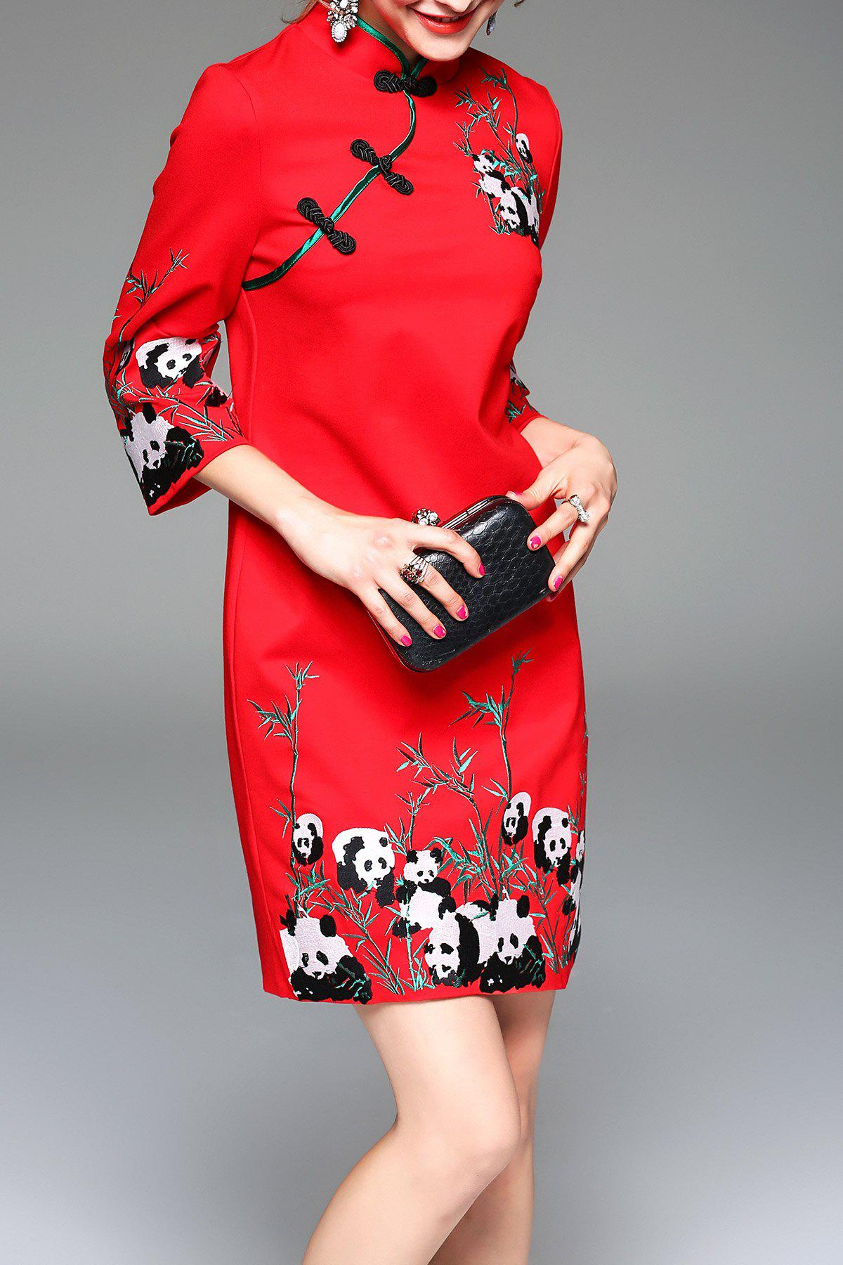 Panda Embroidered Mini Cheongsam Dress