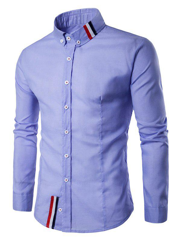 Striped Long Sleeves Button Down Shirt - BLUE M