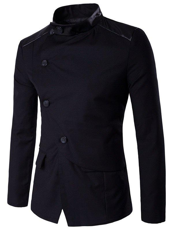 Stand Collar Side Button Up PU Insert JacketMen<br><br><br>Size: 2XL<br>Color: BLACK
