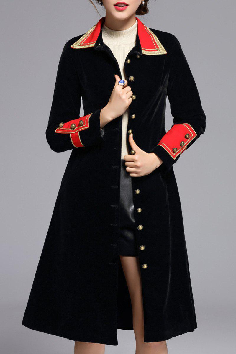 Single Breasted Velvet A Line Coat - BLACK L