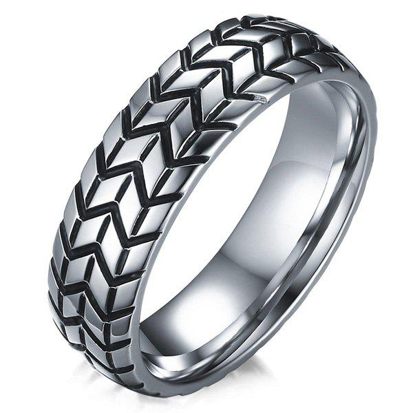 Engraved Tire Alloy Ring - SILVER 9