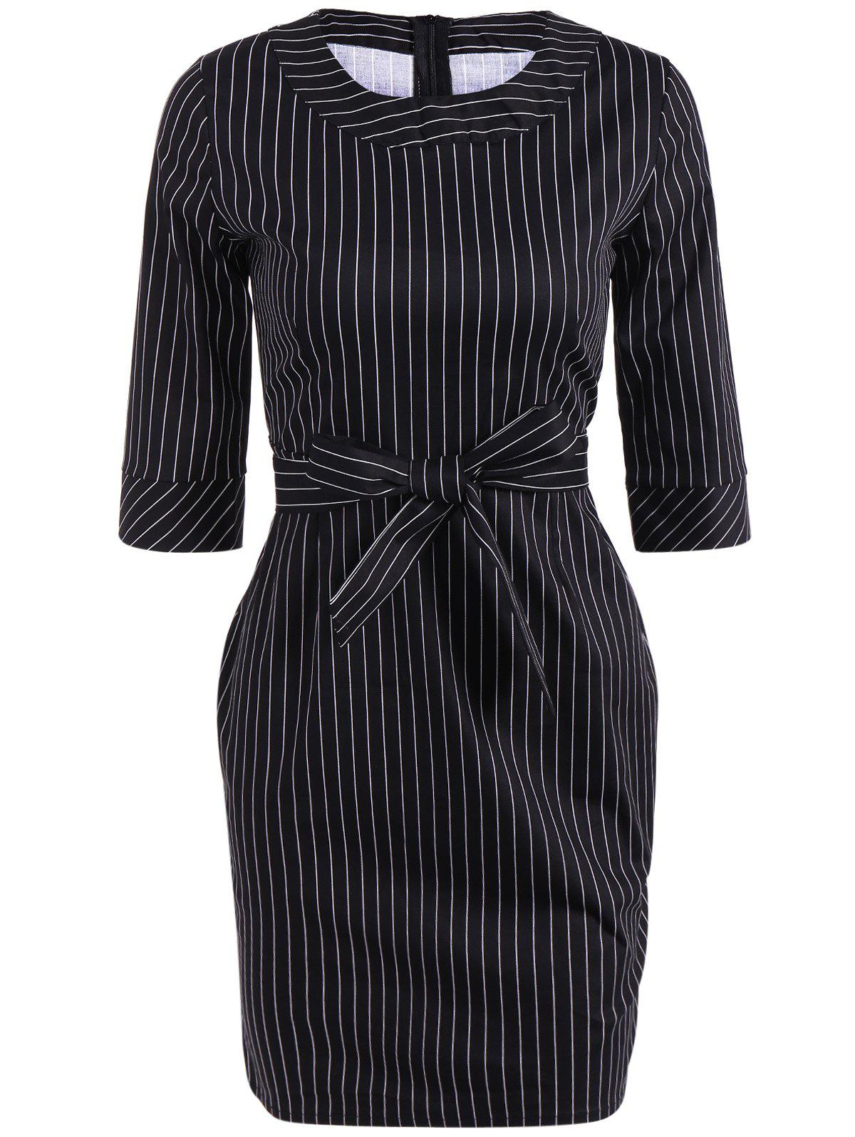 Striped Mini Sheath Belted Work Dress мобильный телефон highscreen bay