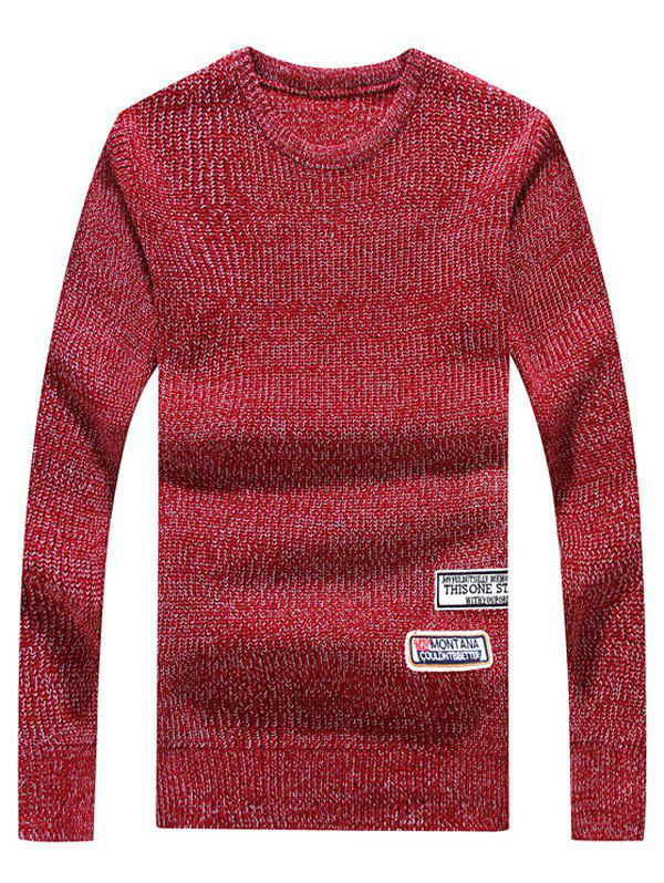 Appliques Crew Neck Long Sleeve Sweater - RED M