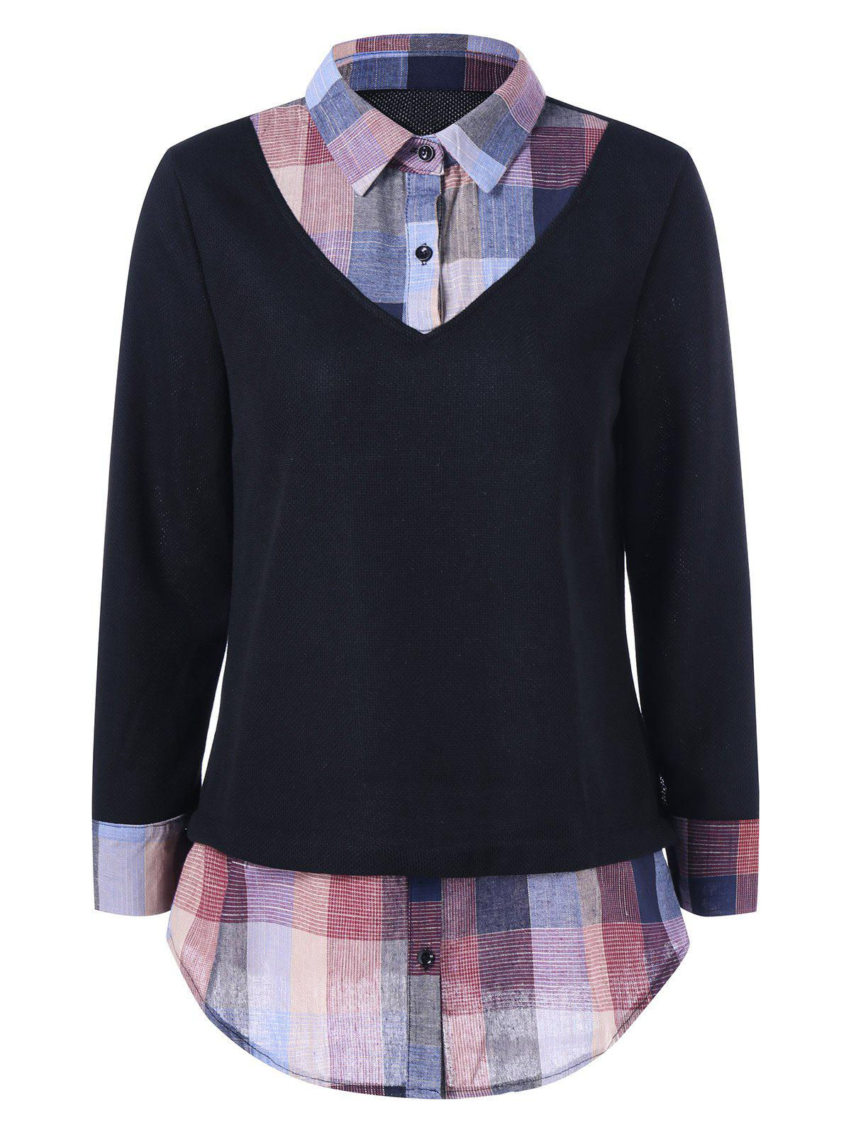 Plaid Insert BlouseWomen<br><br><br>Size: M<br>Color: BLACK
