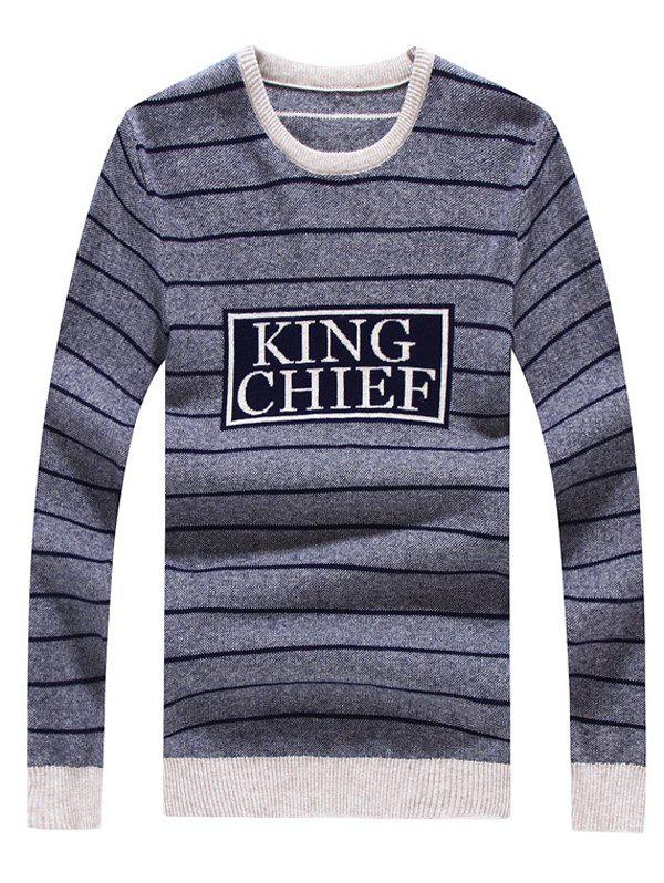 Striped Graphic Crew Neck Long Sleeve Sweater - DEEP GRAY L