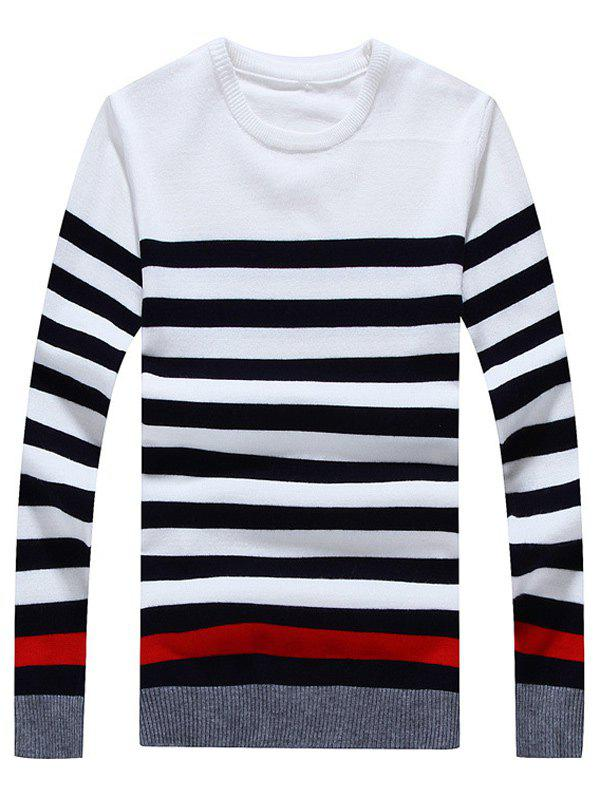Striped Color Block Crew Neck Long Sleeve Sweater - WHITE 2XL