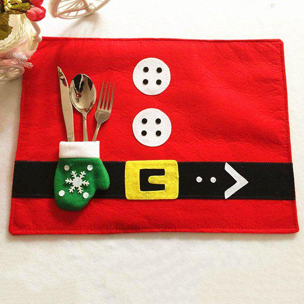 Christmas Home Decor with Knife and Fork Bag Table Mat - RED