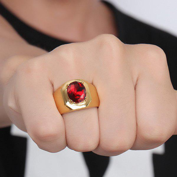 Geometric Fake Gem Embellished Ring - GOLDEN 8