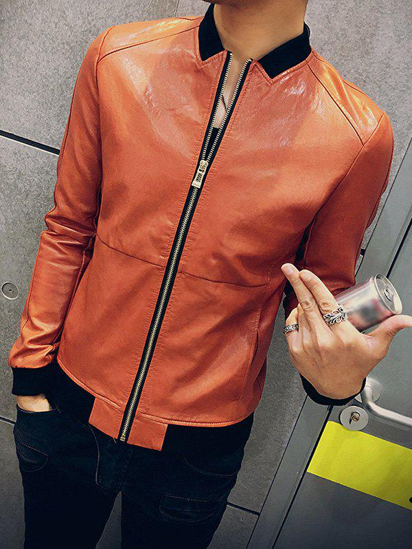 Slim Fit Zip Up Stand Collar PU Leather Jacket - JACINTH M