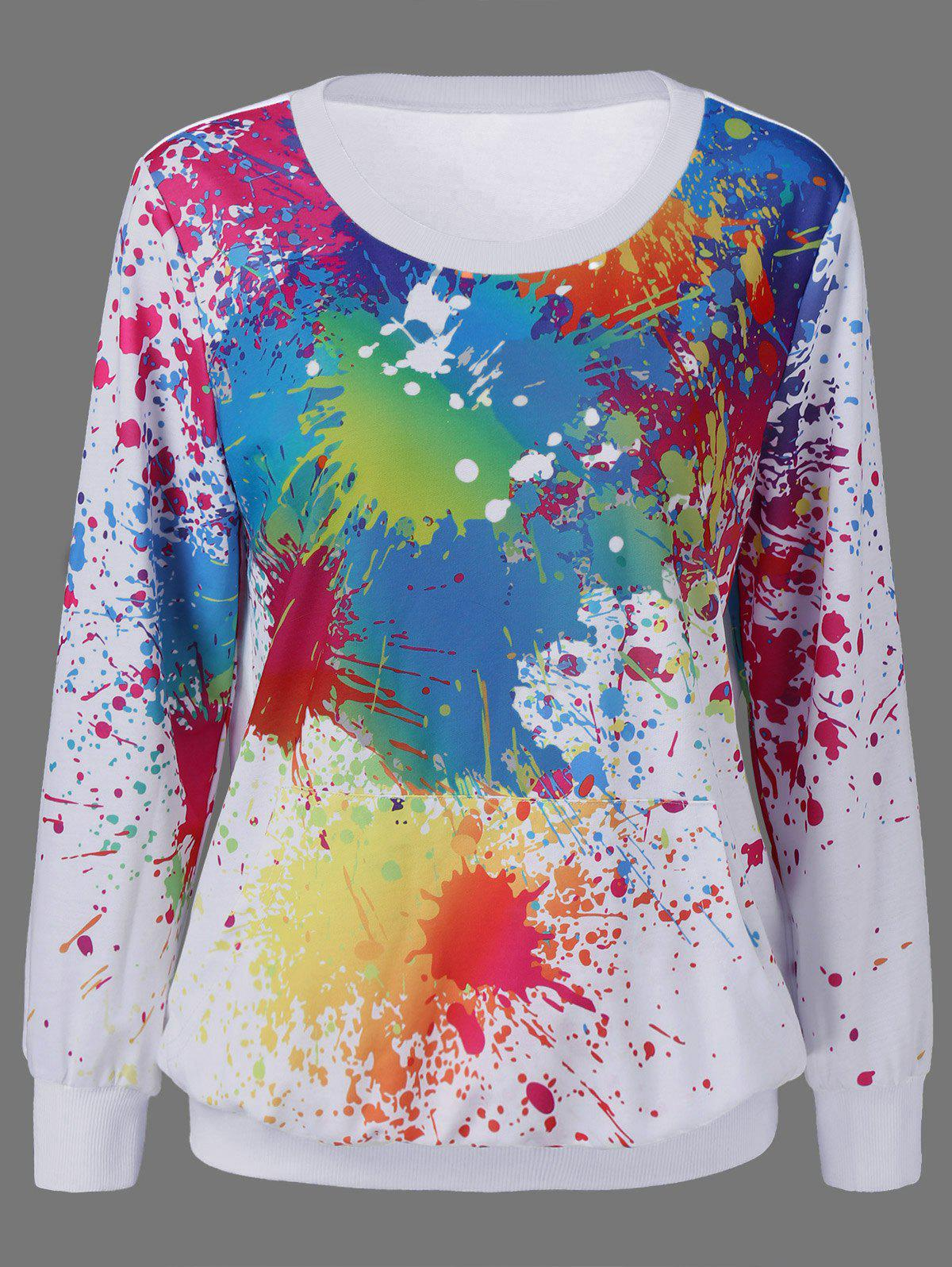 цены Splatter Paint Kangaroo Pocket Sweatshirt