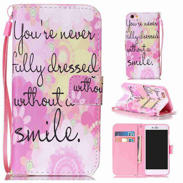 Smile Quote Leather Wallet with Card Slot Case For iPhone 6Plus - PINK FOR IPHONE 6 PLUS / 6S PLUS