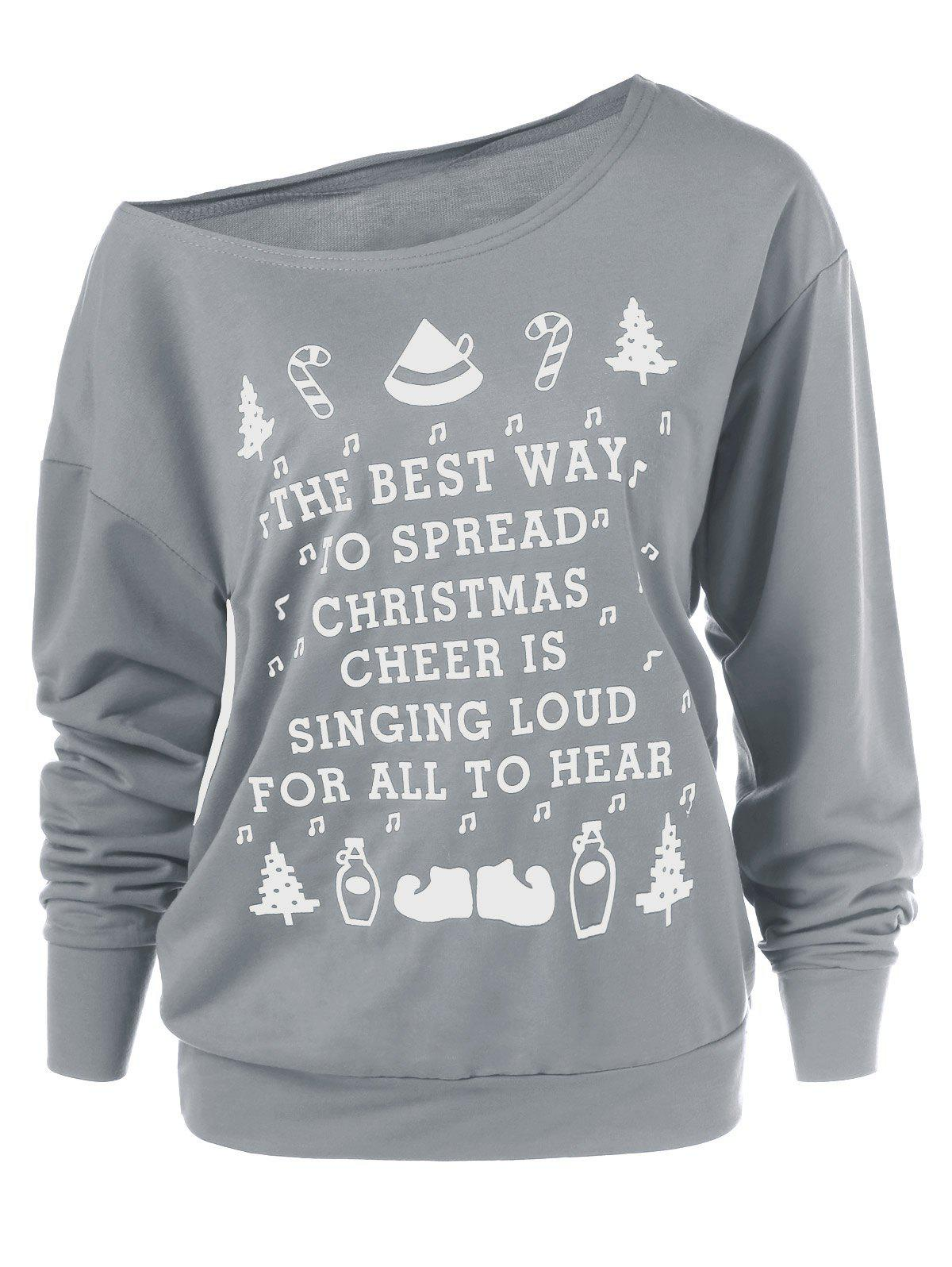 Christmas Graphic Pullover Skew Neck Sweatshirt christmas graphic pullover skew neck green sweatshirt