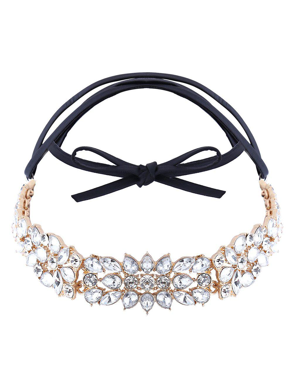 Artificial Leather Rhinestone Choker Necklace - GOLDEN