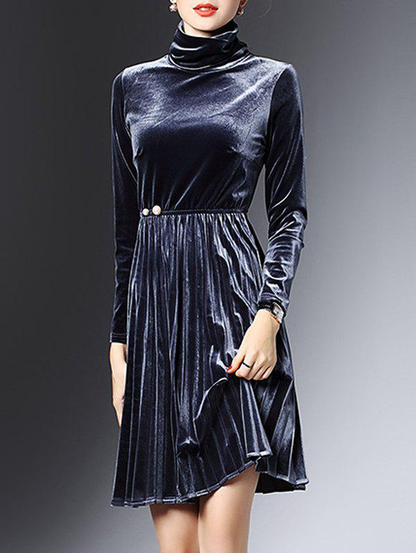 High Neck Long Sleeve Velvet Smock Dress smock long sleeve a line dress