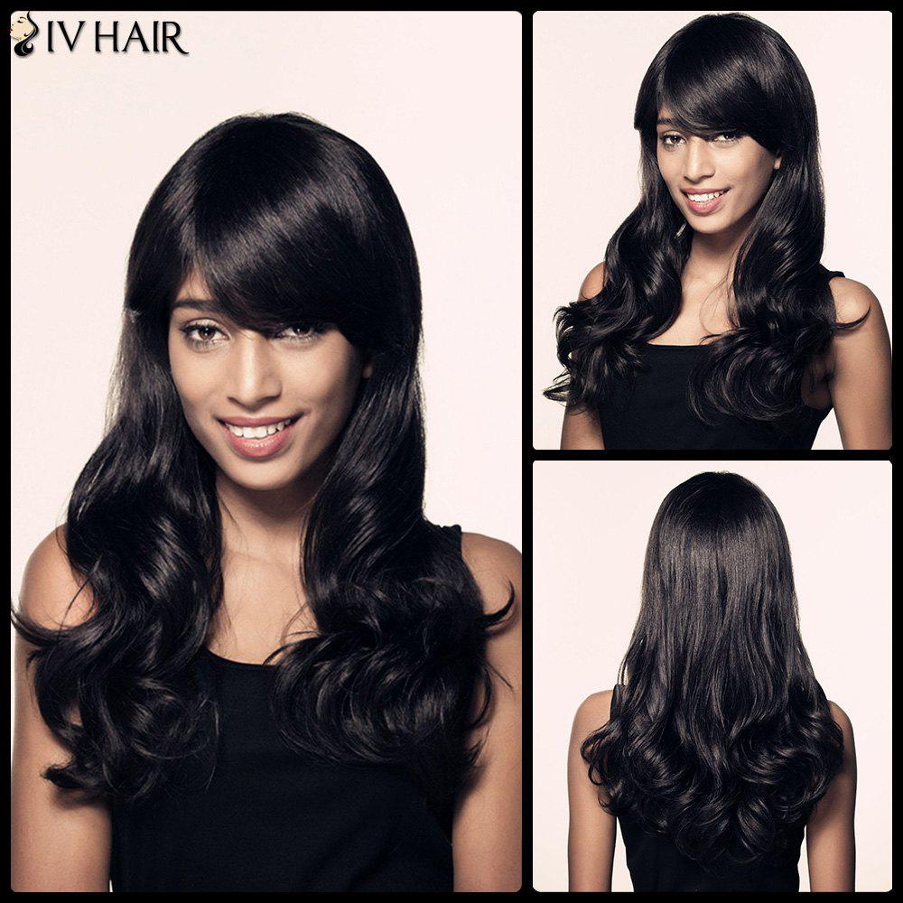 Long Wavy Side Bang Faddish Siv Hair Human Hair Wig - JET BLACK